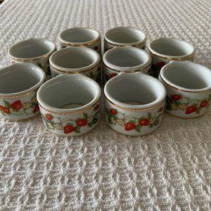 Avon Porcelain Strawberry Print Napkin Holders~10